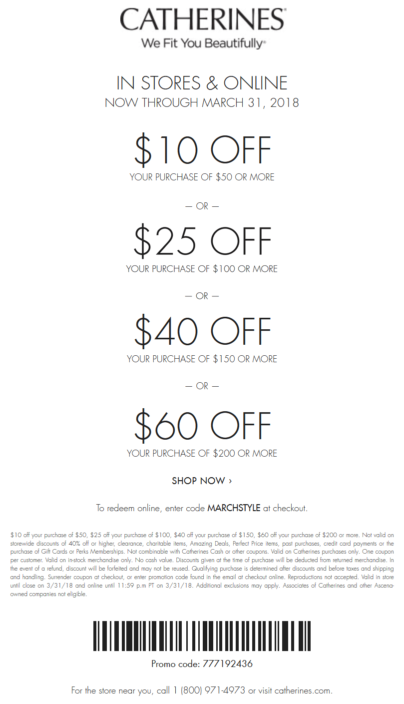Catherines Coupon March 2019 $10 off $50 & more at Catherines, or online via promo code MARCHSTYLE
