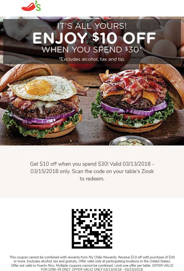 Chilis Coupon January 2019 $10 off $30 at Chilis restaurants