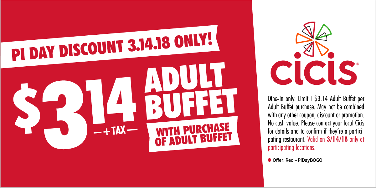 CiCisPizza.com Promo Coupon Second buffet $3.14 today at Cicis pizza