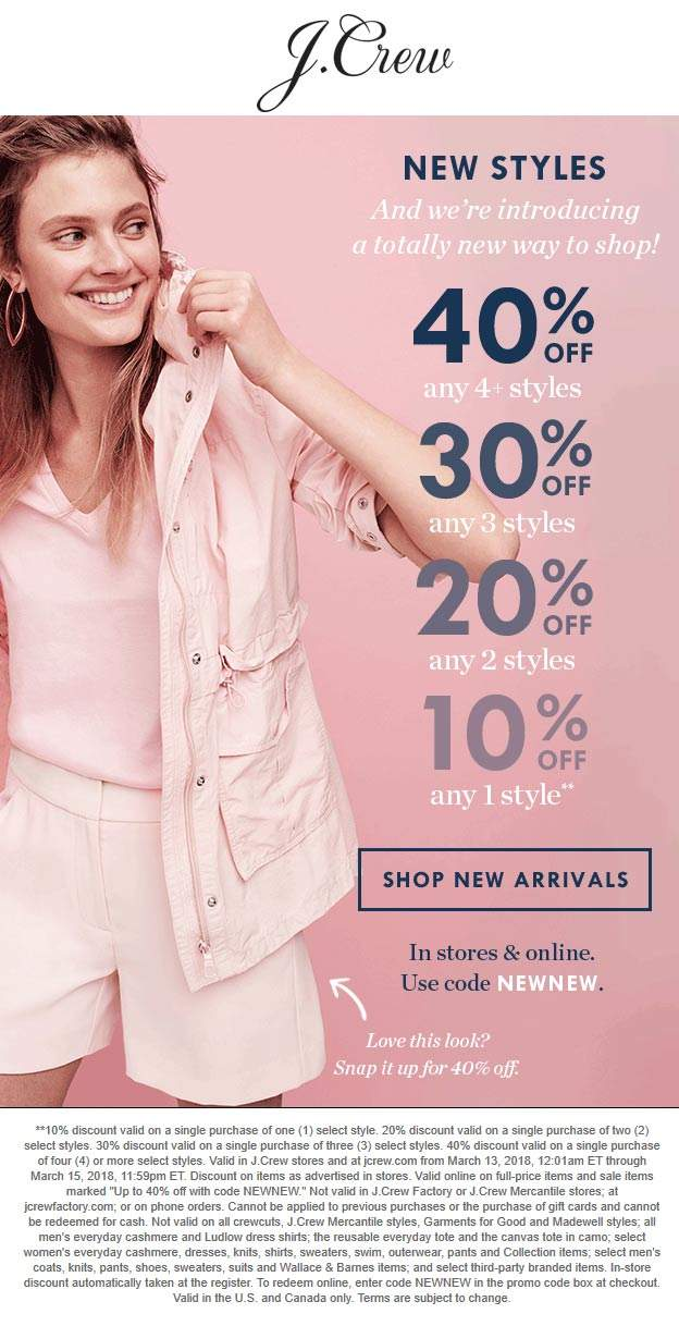 J.Crew Coupon January 2019 10-40% off at J.Crew, or online via promo code NEWNEW