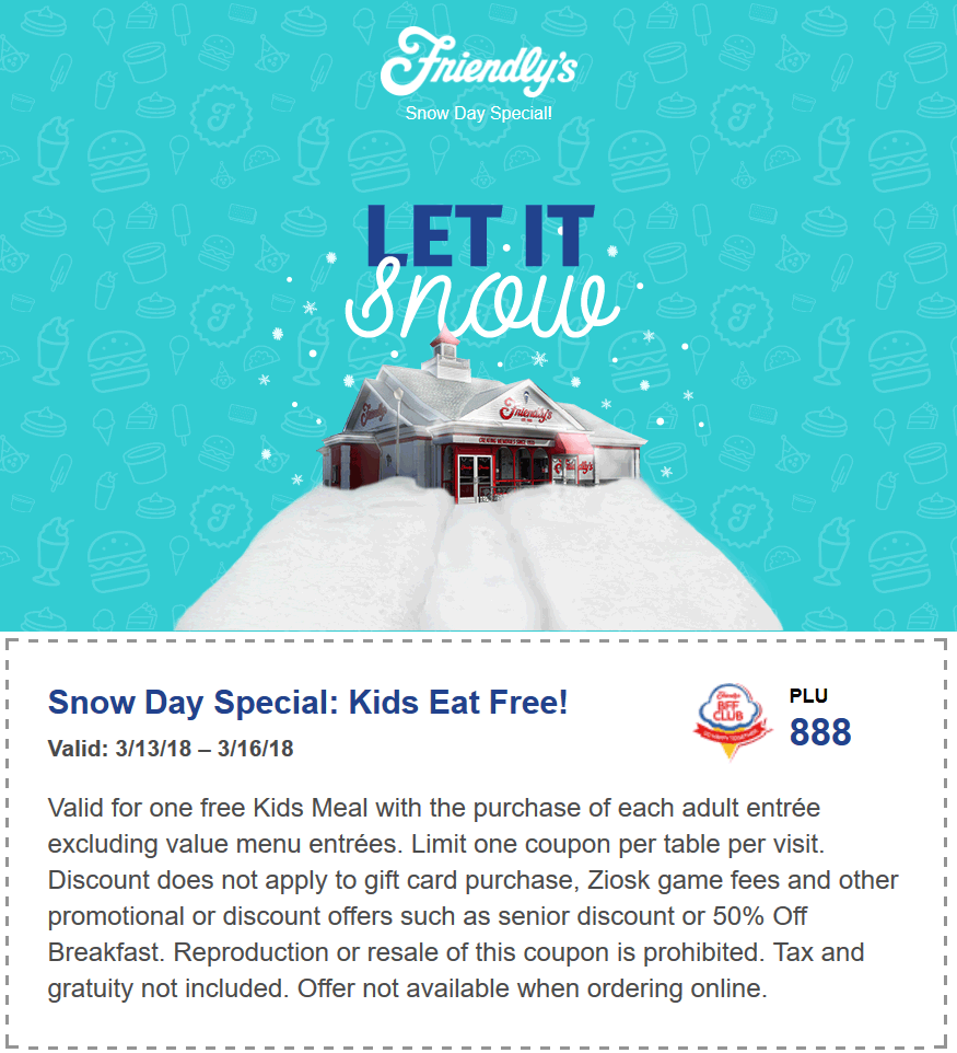Friendlys Coupon April 2018 Kids eat free at Friendlys restaurants