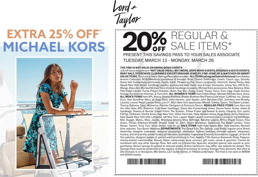 Lord&Taylor.com Promo Coupon Extra 20% off at Lord & Taylor