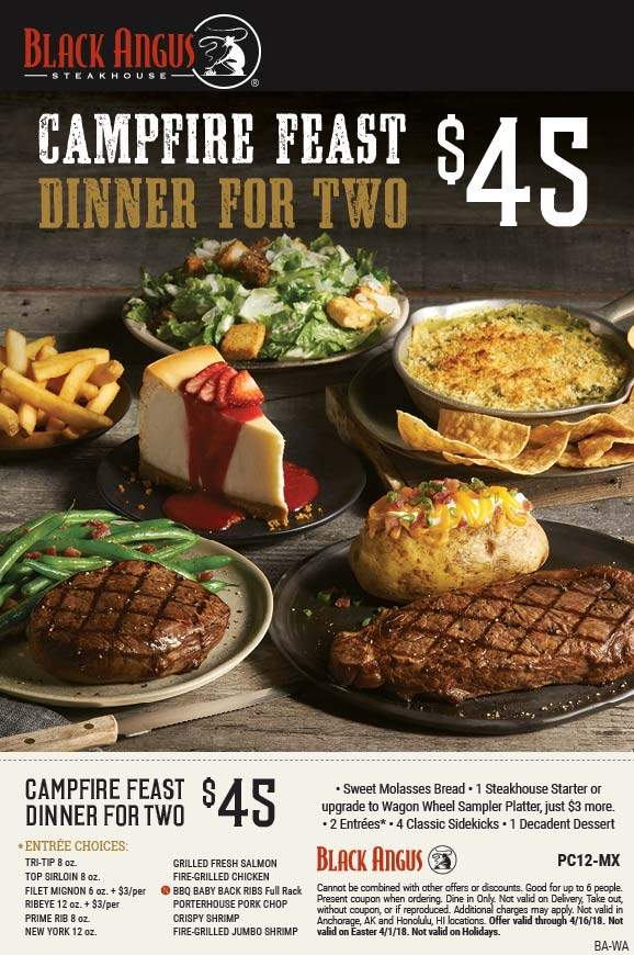 BlackAngus.com Promo Coupon 2 steaks + appetizer + 4 sides + dessert = $45 at Black Angus steakhouse