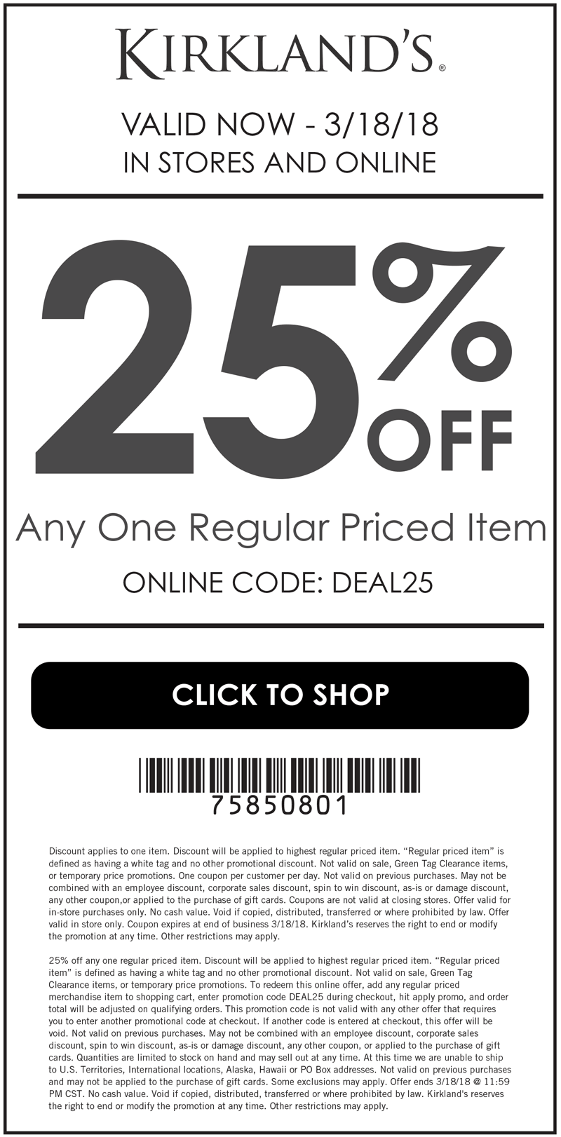 Kirklands Coupon April 2018 25% off a single item at Kirklands, or online via promo code DEAL25