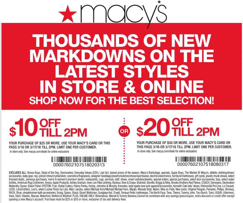 Macys.com Promo Coupon $10 off $25 & more til 2pm at Macys