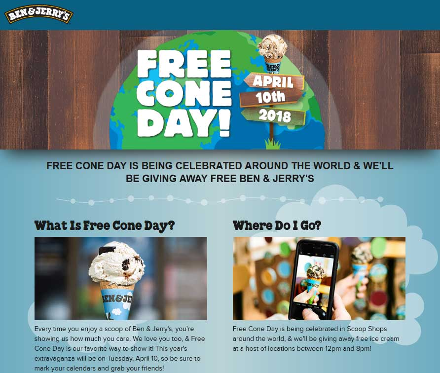 Ben & Jerrys Coupon January 2019 Free ice cream cone day the 10th at Ben & Jerrys