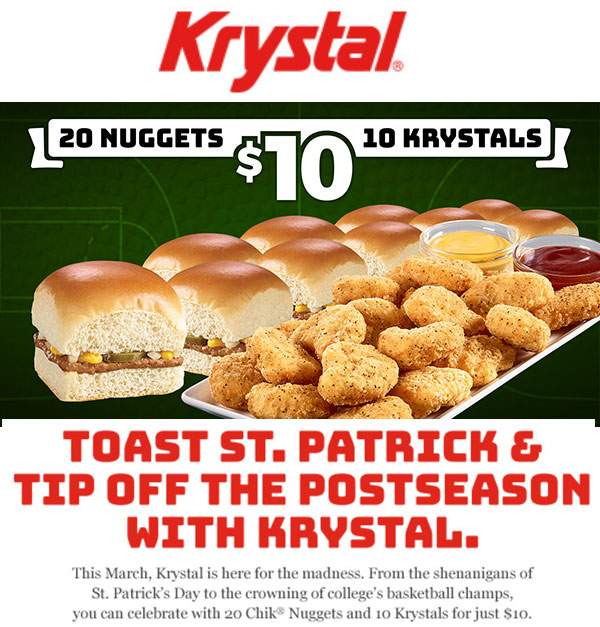 Krystal Coupon August 2018 10 burgers + 20 chicken nuggets = $10 today at Krystal restaurants
