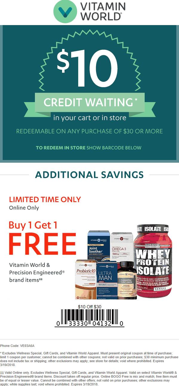VitaminWorld.com Promo Coupon $10 off $30 at Vitamin World, or online via promo code VE03A6A