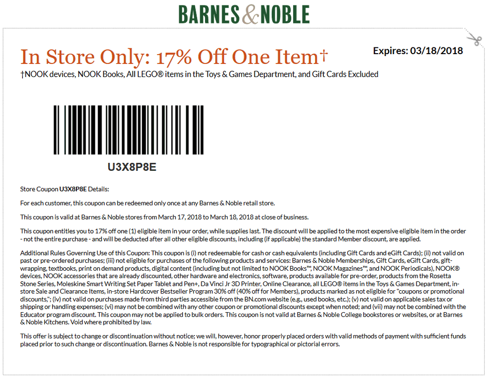 Barnes&Noble.com Promo Coupon 17% off a single item today at Barnes & Noble