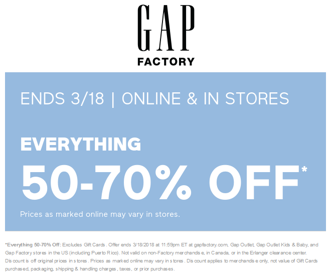 GapFactory.com Promo Coupon 50-70% off everything today at Gap Factory, ditto online
