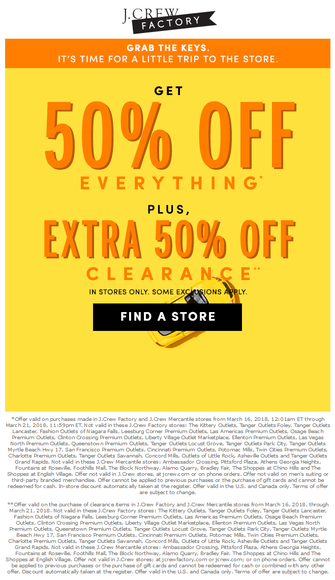 J.Crew Factory Coupon August 2018 50% off everything at J.Crew Factory