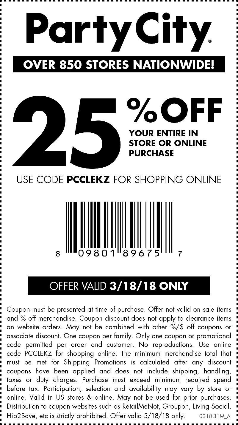 PartyCity.com Promo Coupon 25% off today at Party City, or online via promo code PCCLEKZ