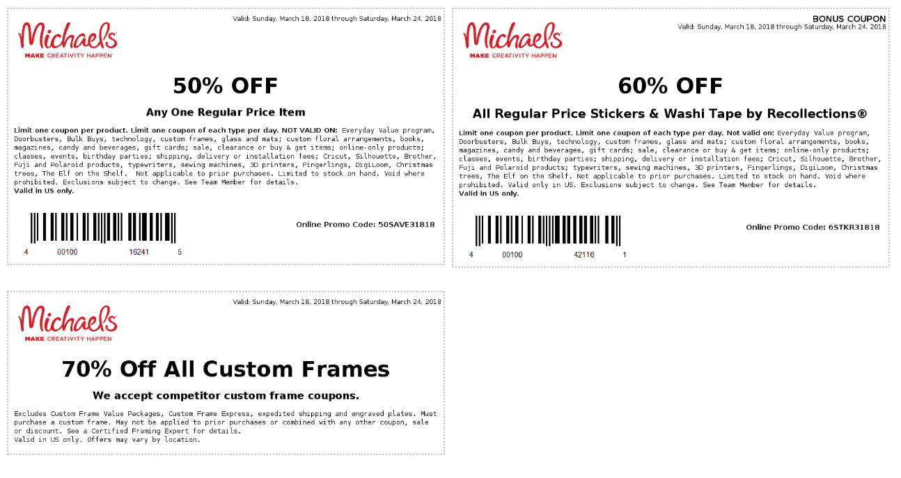 Michaels.com Promo Coupon 50% off a single item at Michaels, or online via promo code 50SAVE31818