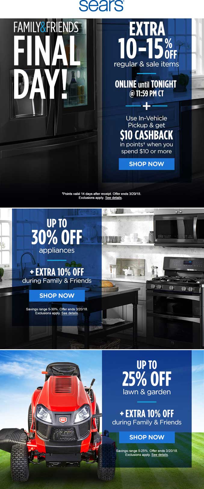 Sears Coupon August 2018 10-15% off online today at Sears