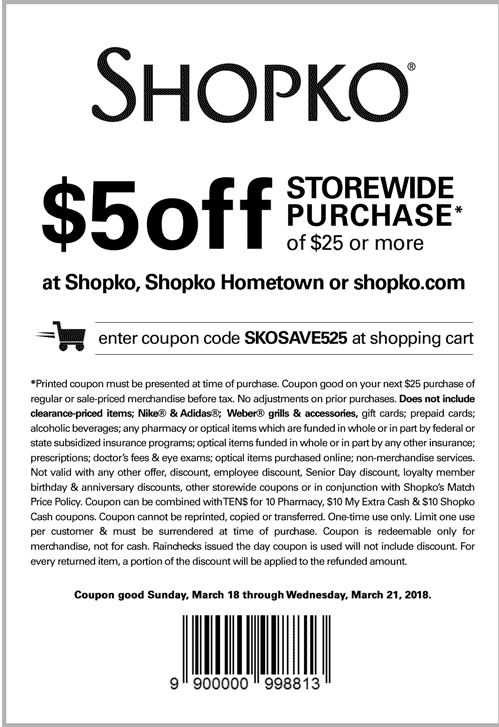 photo about Shopko Printable Coupons known as Shopko Discount coupons - $5 off $25 at Shopko, or on the net through promo