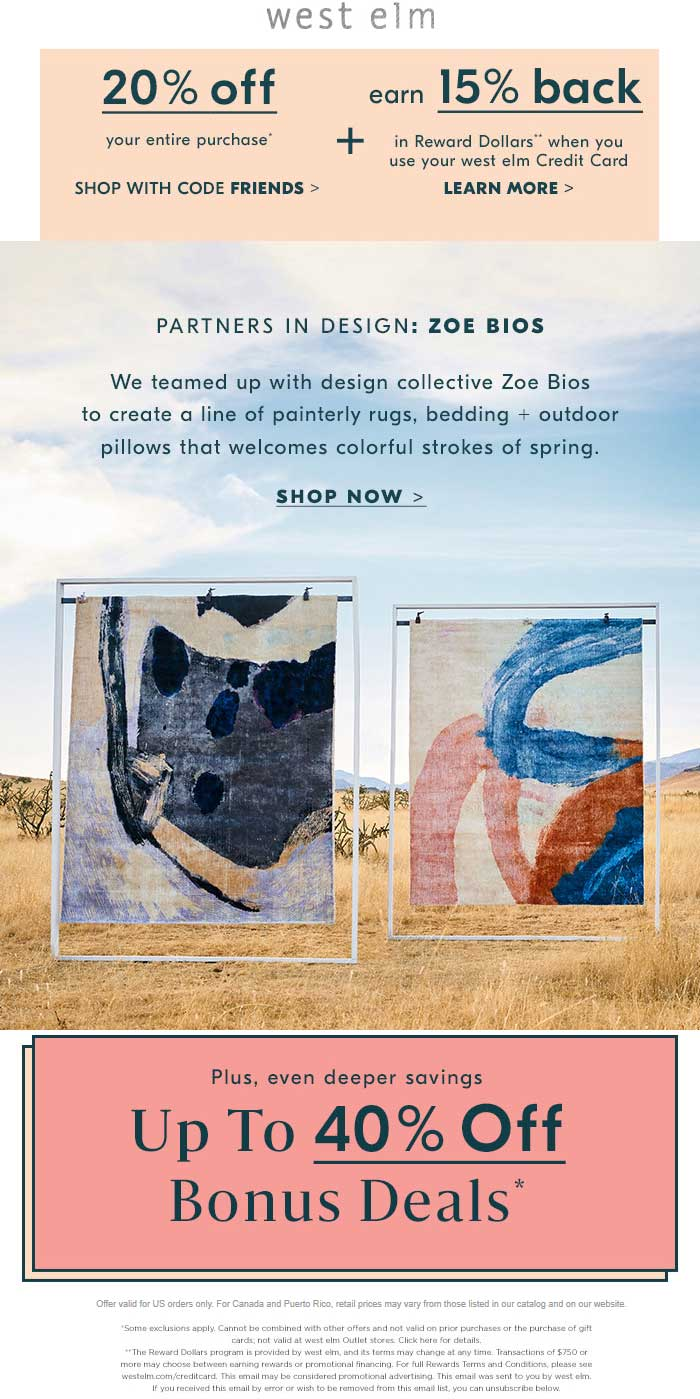 WestElm.com Promo Coupon 20% off at West Elm, or online via promo code FRIENDS