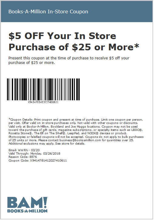 Books-A-Million Coupon December 2018 $5 off $25 at Books-A-Million