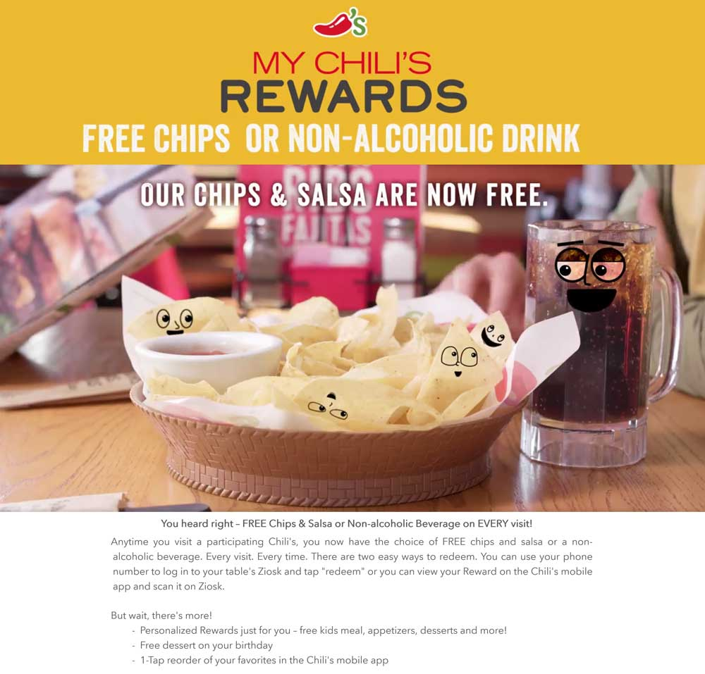 Chilis.com Promo Coupon Free chips & salsa or beverage on every visit to Chilis via free rewards account