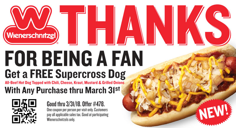 Wienerschnitzel.com Promo Coupon Free chili cheese kraut hot dog with any order at Wienerschnitzel restaurants