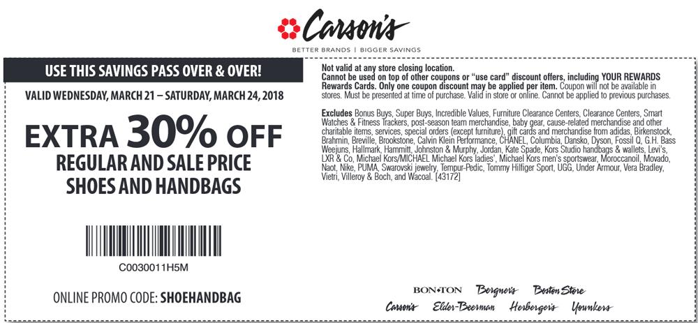 Carsons.com Promo Coupon 30% off shoes & handbags at Carsons, Bon Ton & sister stores, or online via promo code SHOEHANDBAG