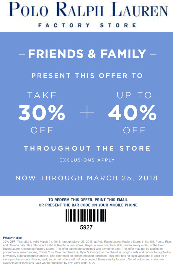 PoloRalphLaurenFactory.com Promo Coupon 30-40% off at Polo Ralph Lauren Factory