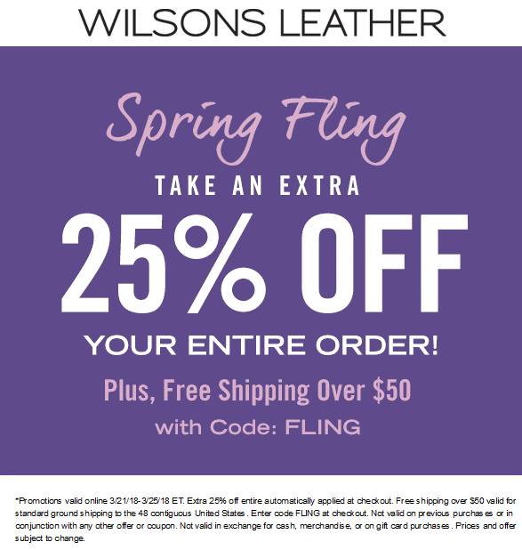 Wilsons Leather Coupon March 2019 25% off everything online at Wilsons Leather via promo code FLING
