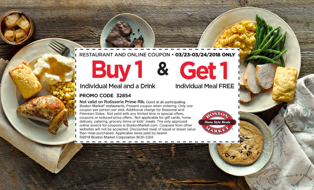 Boston Market Coupon December 2018 Second meal free at Boston Market