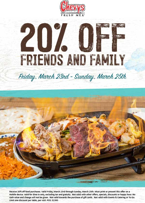 Chevys.com Promo Coupon 20% off at Chevys Fresh Mex restaurants
