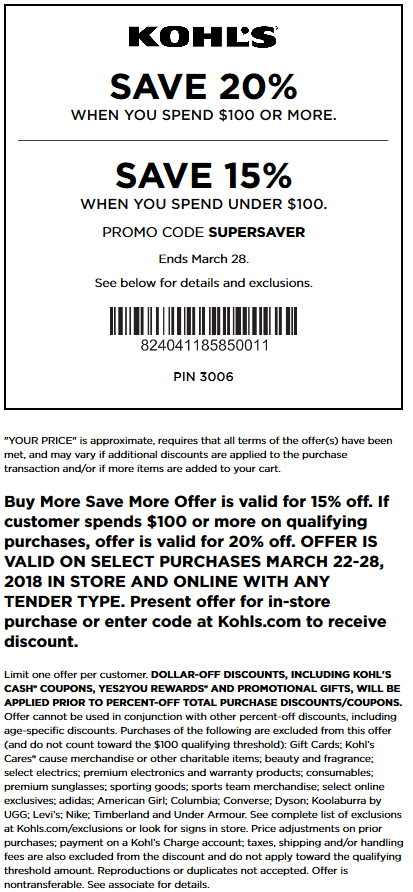 Kohls.com Promo Coupon 15-20% off at Kohls, or online via promo code SUPERSAVER