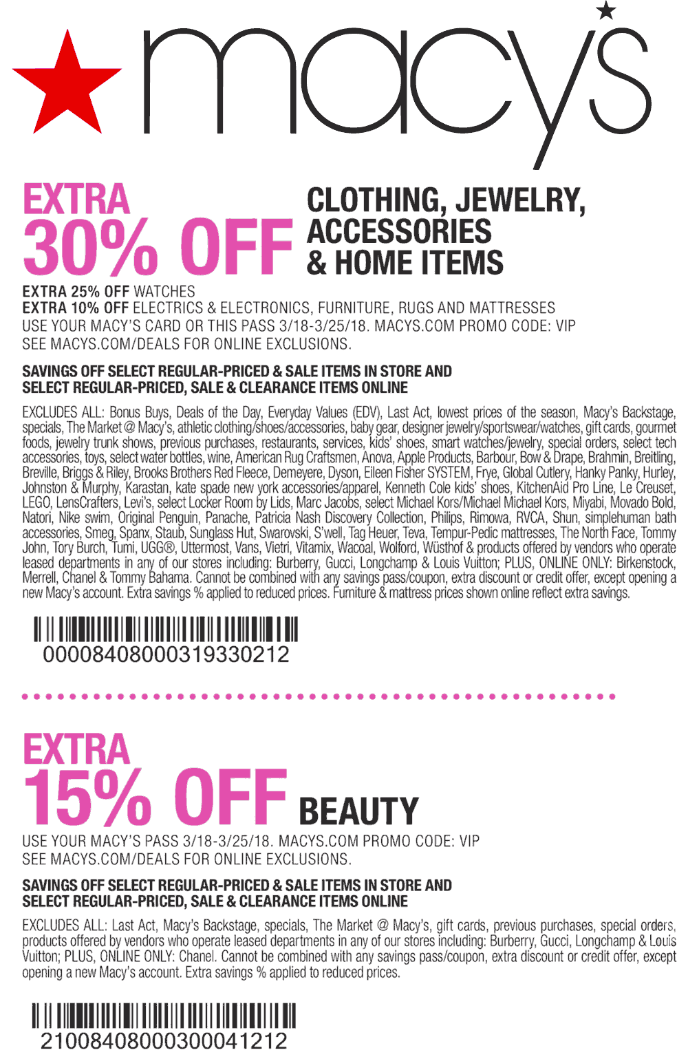 Macys Coupon August 2018 30% off at Macys, or online via promo code VIP