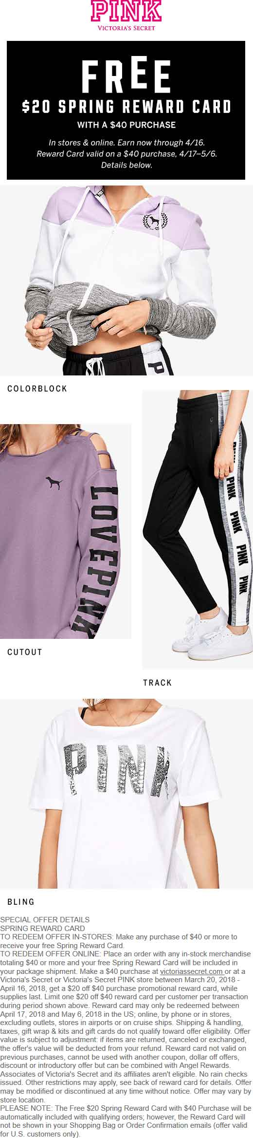 Victorias Secret Coupon October 2018 $20 store card on $40 spent at Victorias Secret PINK, ditto online