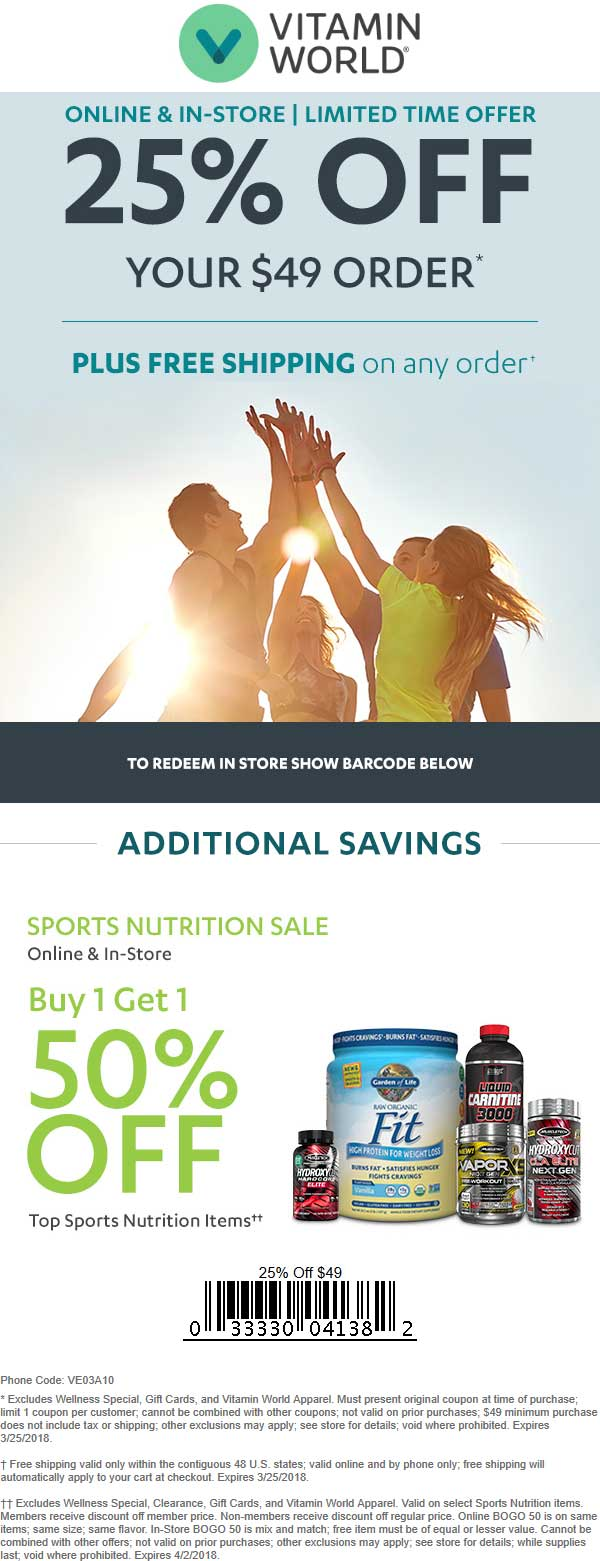 Vitamin World Coupon December 2018 25% off $49 at Vitamin World, or online via promo code VE03A10