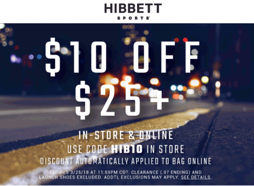 Hibbett Sports Coupon March 2019 $10 off $25 at Hibbett Sports, ditto online