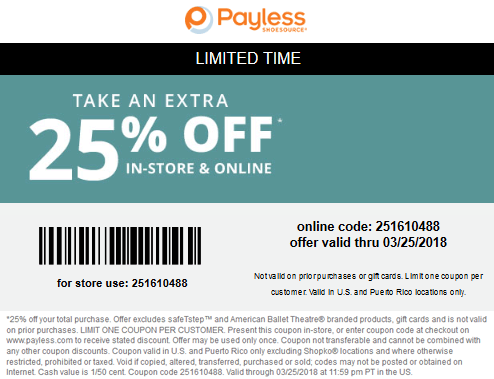 PaylessShoesource.com Promo Coupon 25% off at Payless Shoesource, or online via promo code 251610488
