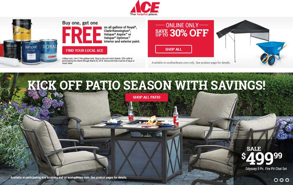 AceHardware.com Promo Coupon Second gallon of paint free at Ace Hardware