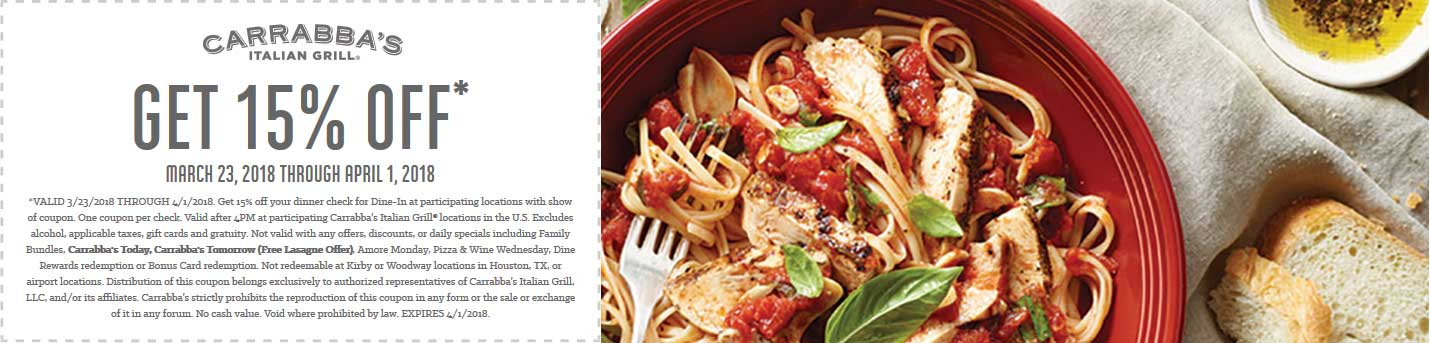 Carrabbas Coupon March 2019 15% off at Carrabbas restaurants