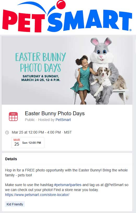 PetSmart Coupon March 2019 Free photo with the Easter bunny til 4p today at PetSmart