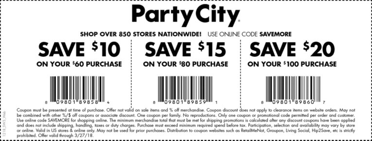 Party City Coupon January 2019 $10 off $60 & more at Party City, or online via promo code SAVEMORE