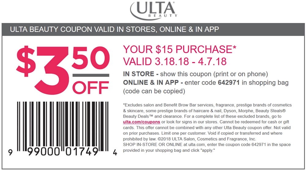 Ulta Beauty Coupon August 2018 $3 off $15 at Ulta Beauty, or online via promo code 642971