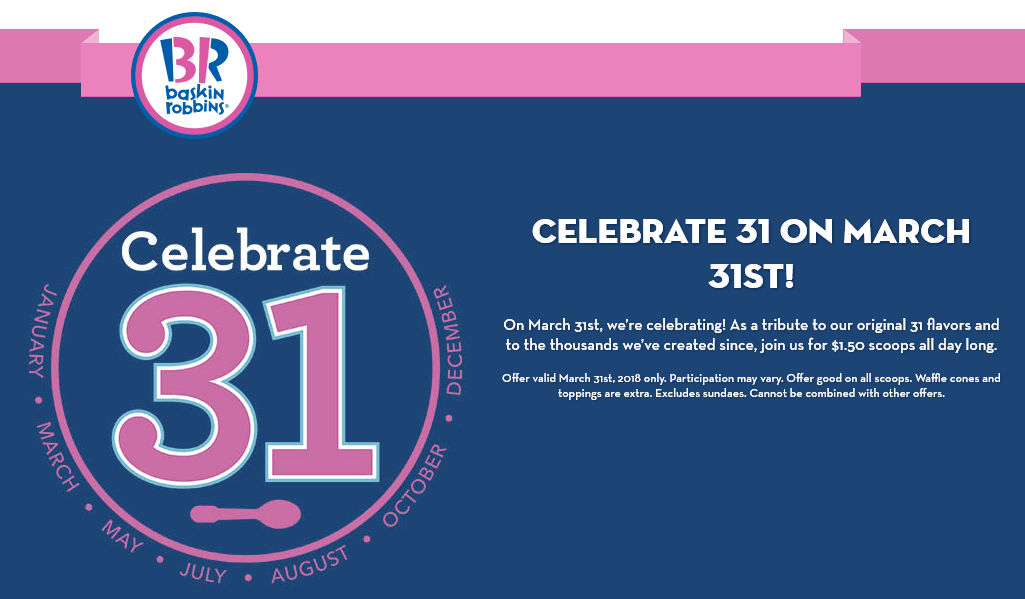 Baskin Robbins Coupon September 2019 $1.50 ice cream scoops Saturday at Baskin Robbins