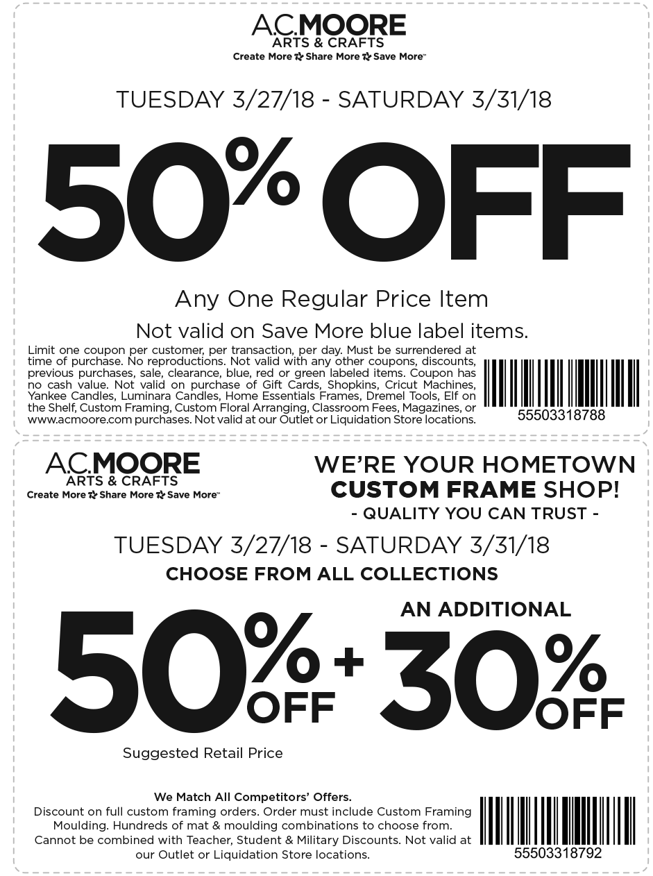 A.C. Moore Coupon April 2019 50% off a single item at A.C. Moore