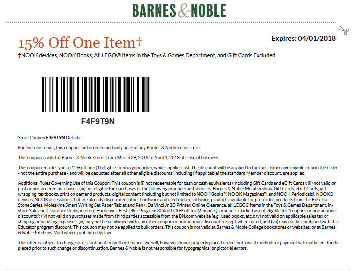 Barnes & Noble Coupon March 2019 15% off a single item at Barnes & Noble