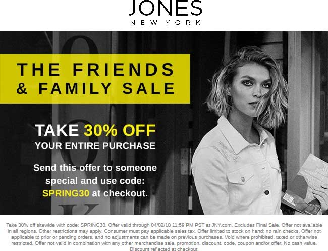 JonesNewYork.com Promo Coupon 30% off everything online at Jones New York via promo code SPRING30