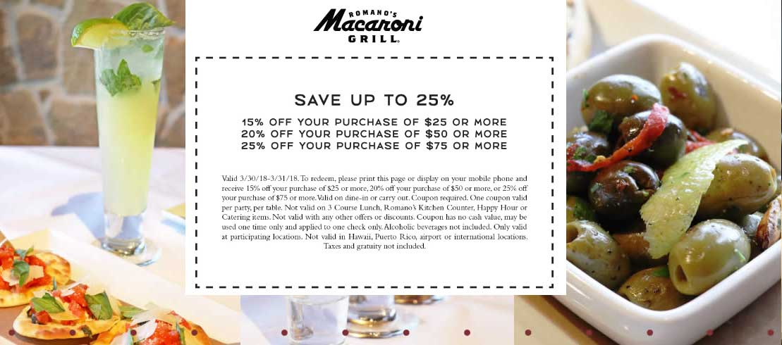 Coupons for macaroni grill 2018