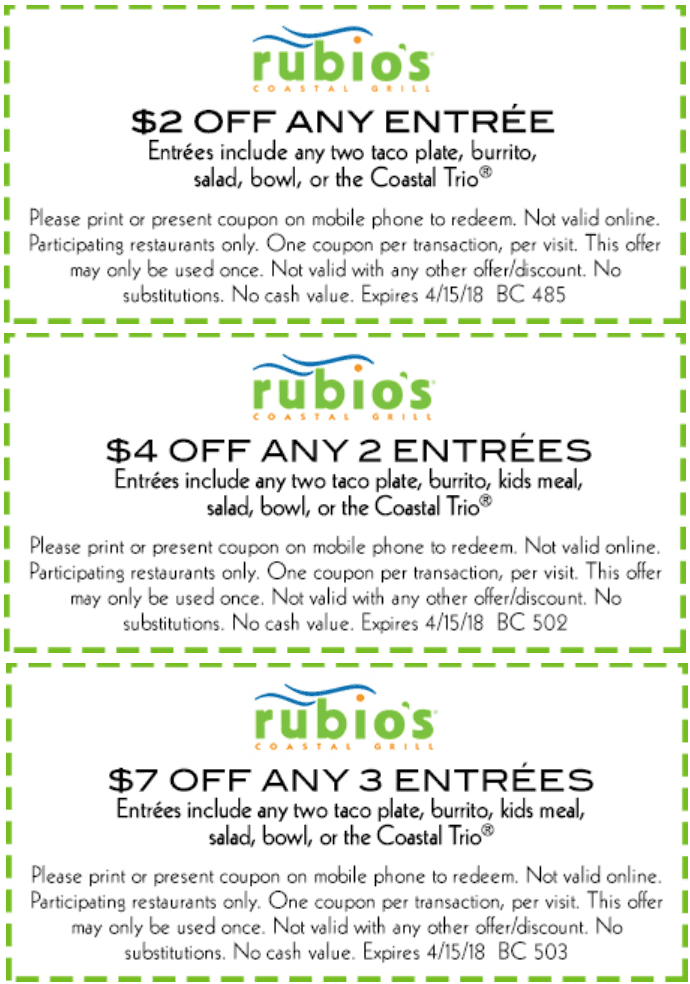 Rubios Coupon December 2018 $2-$7 off entrees at Rubios coastal grill