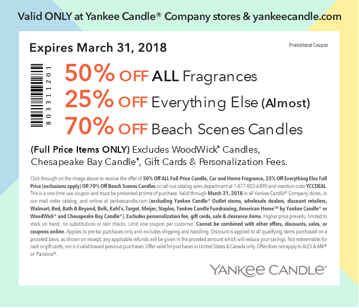 Yankee Candle Coupon August 2018 50% off fragrances & more at Yankee Candle, or online via promo code YCCDEAL
