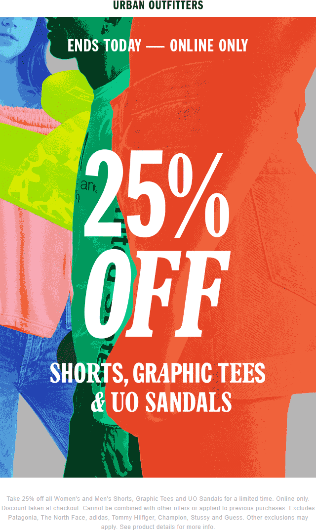 Urban Outfitters Coupon March 2019 25% off shorts & tees online today at Urban Outfitters