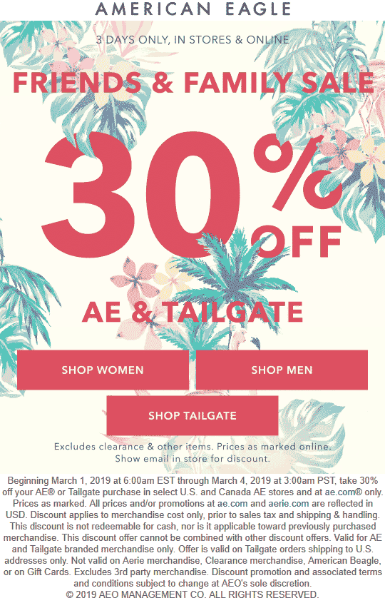 American Eagle Coupon May 2019 30% off at American Eagle, ditto online