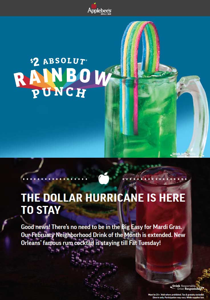 Applebees Coupon January 2020 $2 vodka rainbow punch, $1 151 hurricanes at Applebees restaurants