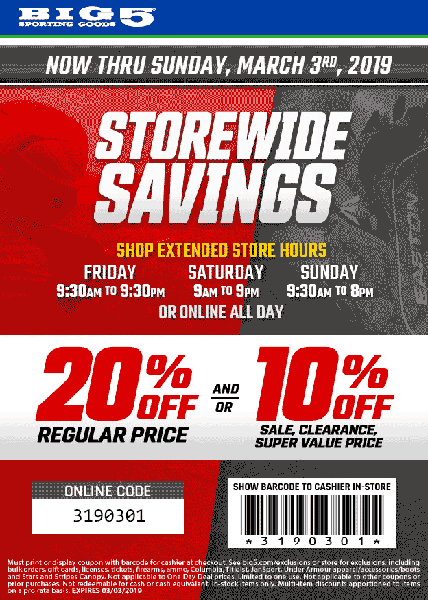 Big 5 Coupon August 2019 20% off at Big 5 sporting goods, or online via promo code 3190301
